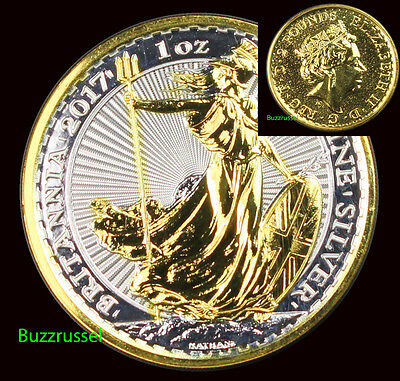2017 Great Britain 1 oz Silver Britannia BU Coin $2 24K Gold Gilded BOTH SIDES
