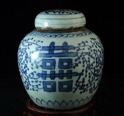 """china old collection blue and white porcelain hand-painted""""囍"""" teapot c01"""