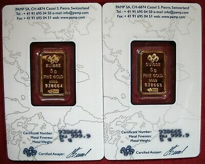 🌠 TWO 5 Gram PAMP SUISSE Fortuna GOLD Bars 🌠  999.9 CERTIFIED Pure GOLD 🌠