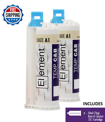 (2) ELEMENT Temporary Crown and Bridge Material Cartridges 50ml Dental SHADE A1