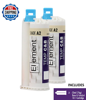 (2) ELEMENT Temporary Crown and Bridge Material Cartridges Dental SHADE A2