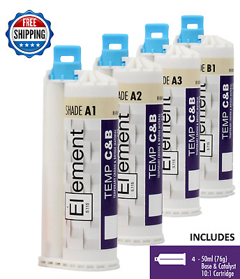 (4) ELEMENT Temporary Crown and Bridge Material Cartridges Dental ALL SHADES
