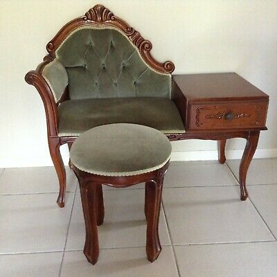 Vintage Telephone Table and Matching Stool. Excellent condition.