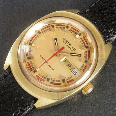 Mens 1972 Lucien Piccard Swiss ROULETTE Dial Circa 101 2x Date Automatic Watch +