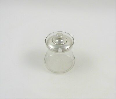 Sterling Silver and Etched Glass Mustard / Jam Jar by Weidlich Sterling