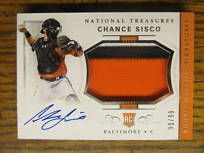 2018 NATIONAL TREASURES CHANCE SISCO AUTOGRAPH PATCH #d/99 ROOKIE CARD AUTO