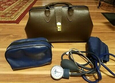 Vintage 1950's Doctors Bag Emdee Schell Brown Cowhide Leather W/ BP Cuff & Key