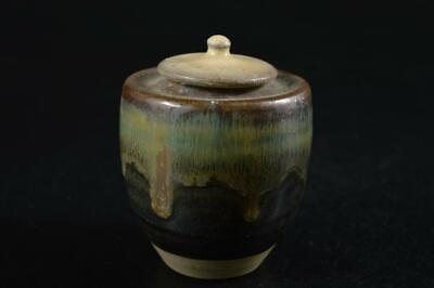 G7358: Japanese Seto-ware Green glaze TEA CADDY Chaire Container Tea Ceremony