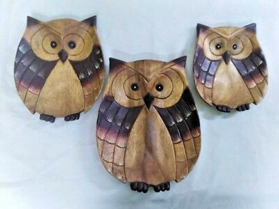 Set of 3 Wooden Dish Tray Owl Shaped Wood Carved Dinnerware Serving Dish Plates
