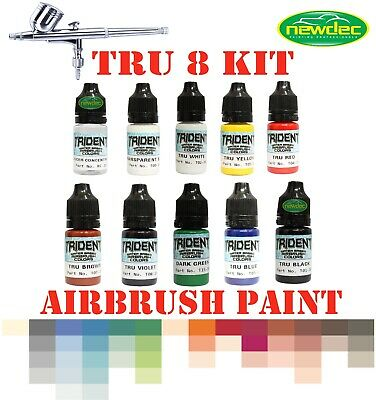 10 pcs TRU8 DNA TRIDENT 10ML X 8 AIRBRUSH PAINT 10ML REDUCER SPRAY WATERBASED