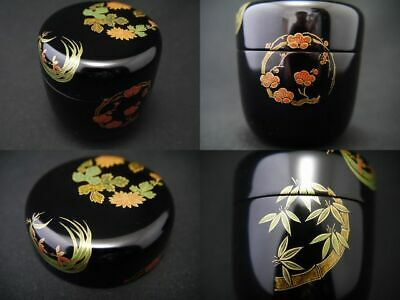 Japanese Lacquer Wooden Tea caddy The Four Classic Plants makie Natsume (208)