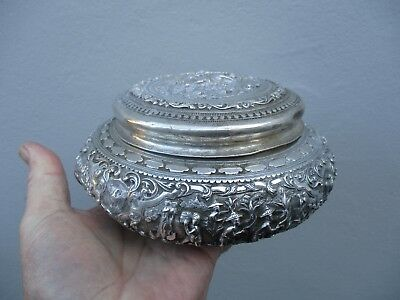 A Very Heavy Fine Quality Antique Asian Silver Bowl & Lid 19th C 480g