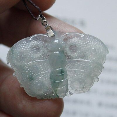 "Certified Natural ""A"" Untreated Icy Green Jadeite JADE Butterfly Pendant 18K"
