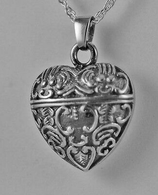 Cremation Silver Antique Ash Heart Urn Necklace Pendant without chain #498