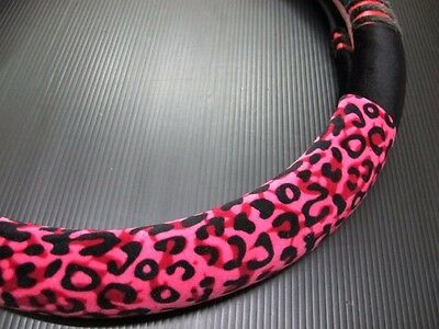 38cm Black Rose Red Leopard Soft Warm Plush Vehicle Car Steering Wheel  Cover