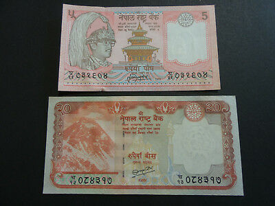 Nepal Lot Of 2 Pcs 5 & 20 Rupees Uncirculated Banknotes