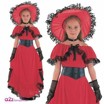 Girls Scarlet O'Hara Costume World Book Day Victorian Lady Childs Fancy Dress