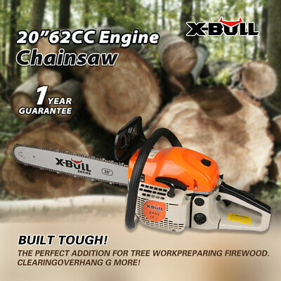 """X-BULL 62cc Petrol Commercial Chainsaw  E-Start Chain Saw Tree Pruning 20"""" Bar"""