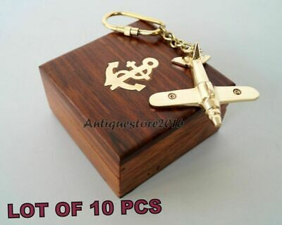 Lot Of 10 Pcs Nautical Brass Airplane key Chain Collectible With Wooden Box Gift