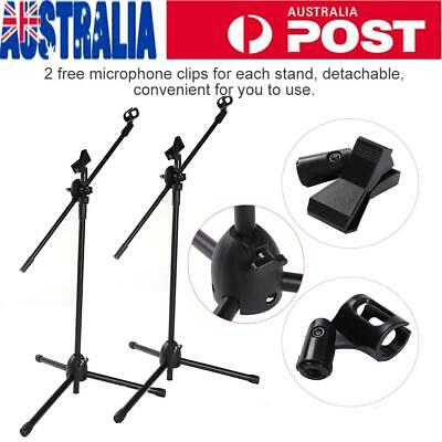 Height Adjustable Telescopic Boom Microphone Stand Mic Clip Stand Clamp Mount AU