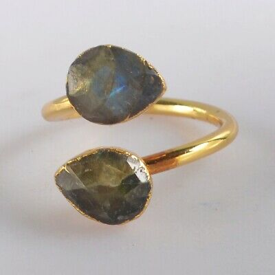 Size 7 Natural Labradorite Faceted Adjustable Ring Gold Plated T074900