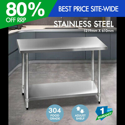 Cefito 1219x610mm Commercial 304 Stainless Steel Kitchen Work Bench Prep Table