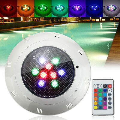 12/24V 9W LED RGB Underwater Swimming Pool Light Wall Mounted W/ Remote Control