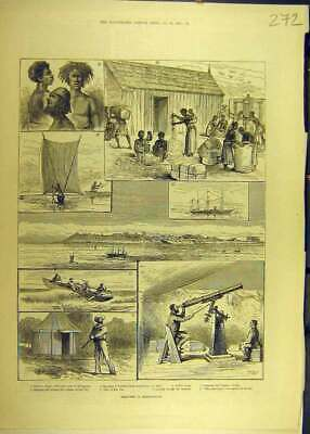 Original Old Antique Print 1883 Sketches Madagascar Africa Sakalave Hms Fawn