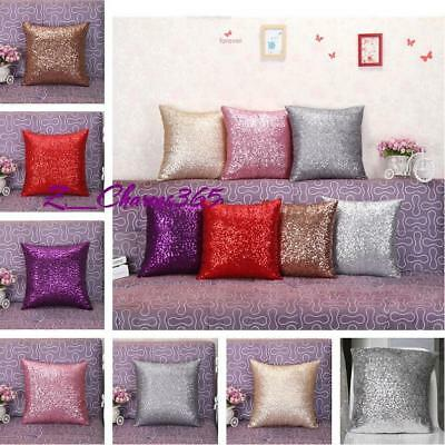 Reversible Glitter Sequins Cushion Cover Sofa Throw Pillow Case Home Decor 8C