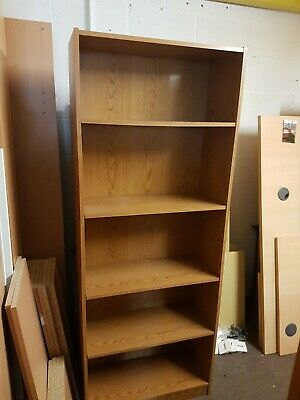 Large Dark Oak effect office bookcase, 4 adjustable shelves 1800mm high