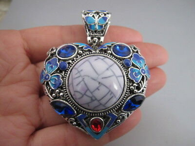 China old Tibetan silver Cloisonne gem Butterfly flower heart-shaped pendant