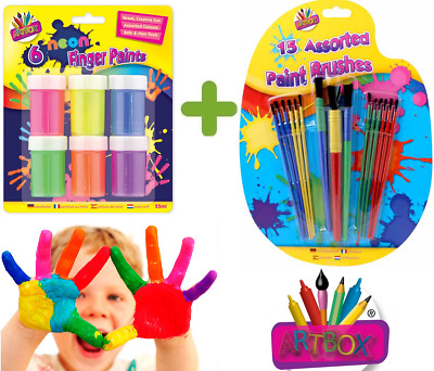 15x Kids Paint Brushes Sponge Painting Brush Finger Paints for Children Toddlers