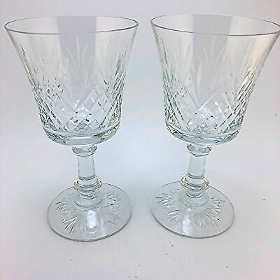 Set of 2 Fostoria Wakefield Clear Crystal Water Goblets Glasses