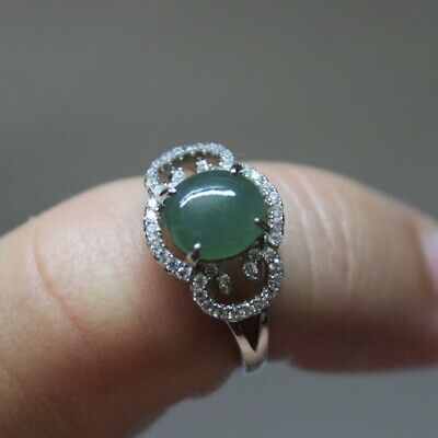 """Size 6  CERTIFIED Natural """"A"""" Untreated Icy Oily Green Jadeite JADE S925 RING"""