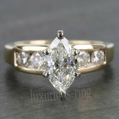 1.43 Ct Near White Marquise Cut Moissanite Engagement Ring 10k Solid Yellow Gold