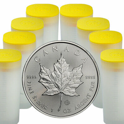 8 Rolls of 25 200 Coins 2019 Canada 1 oz Silver Maple Leaf $5 GEM BU SKU55540