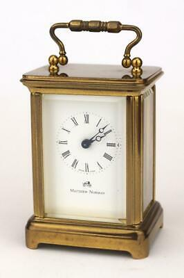 MATTHEW NORMAN VINTAGE 1742 SWISS 8 Day BOUDOIR CARRIAGE CLOCK Working With Key