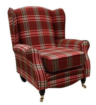 Sherlock Wing Chair Fireside High Back Armchair Balmoral Red Check Fabric