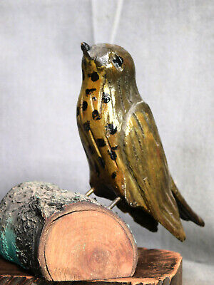 Vintage American Folk Carving Song Bird PAINTED Pennsylvania Estate Outsider OLD