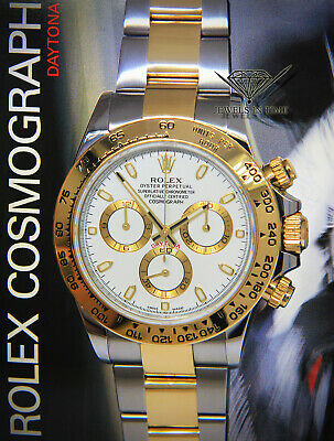 431b002aa17 Rolex Daytona 18k Yellow Gold Steel White Dial 40mm Watch Box Papers 116503