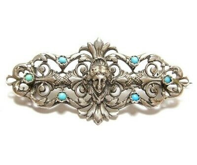 Beautiful Antique Victorian Or Edwardian Silver & Turquoise Brooch (B17)