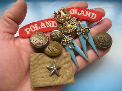 SET of few original POLISH ITEMS from WW2: Eagle badge, buttons and POLAND patch
