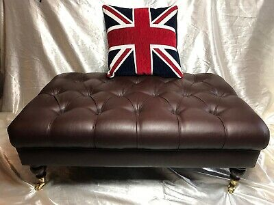 Extra Large Luxury Quality Faux Leather Chesterfield Style Tan Brown Footstool