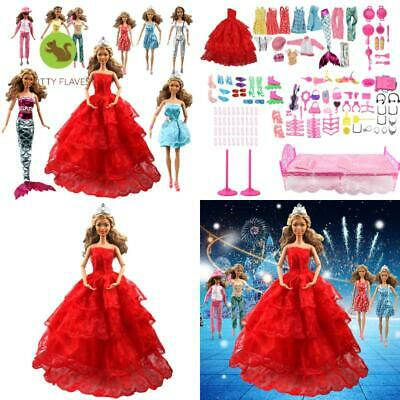 Aidonger 110Pcs Barbie Doll Clothes And Accessories Include-10 Pcs Clothes Party