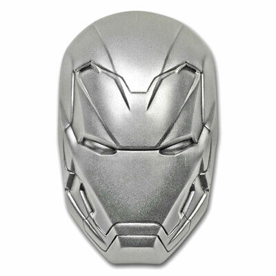 2019 2 oz Antique Silver Domed Fiji Marvel Iron Man Mask Coin