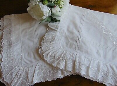 2 ANTIQUE VICTORIAN FRENCH CHATEAU ROMANTIC FRILLED LARGE PILLOWCASES 74x68.5cm