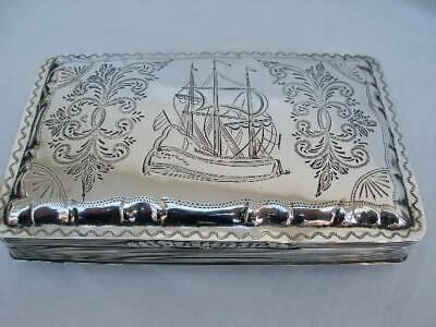 Superb Dutch Antique Hallmarked Silver Presentation Tobacco Box.