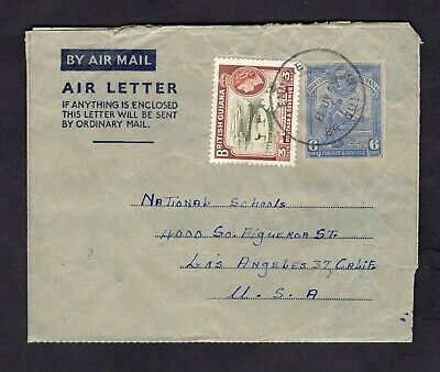 Old 1955 British Guiana Uprated KGVI 6c Ad Aerogramme w/QEII 3c Stamp Scott #255
