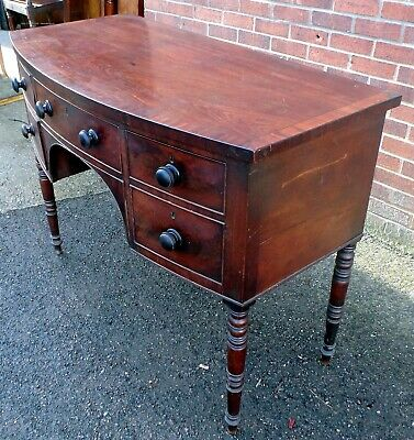Regency antique Georgian Cuban flame mahogany compact bow front sideboard buffet