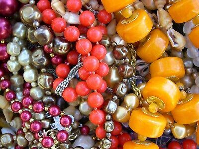 Large Job Lot Of Vintage Costume Jewellery and Beads Spares,Repair,Craft 1.5 Kg